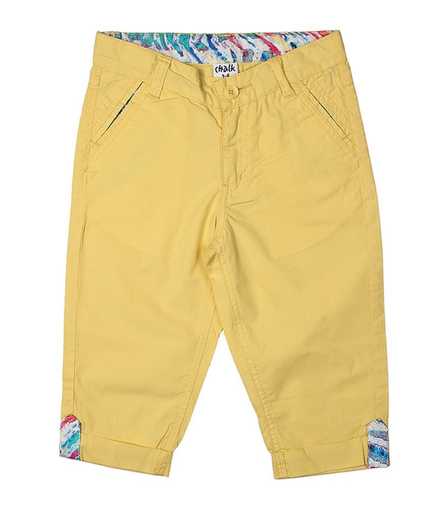 Chalk by Pantaloons Yellow Casual Solid Capris