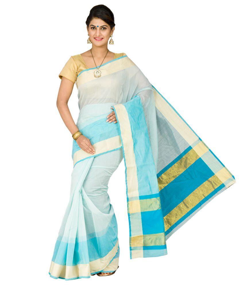 Korni Blue Cotton Silk Saree