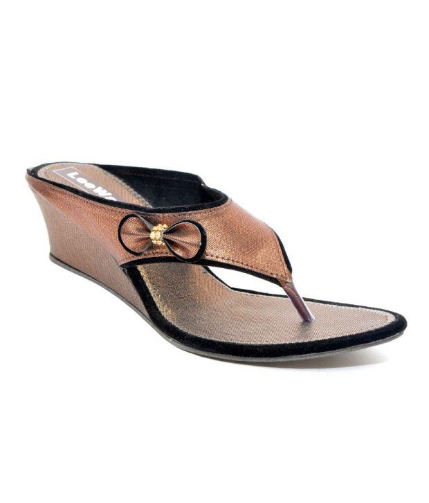 Leeway Footwear Brown Heeled Slip-On