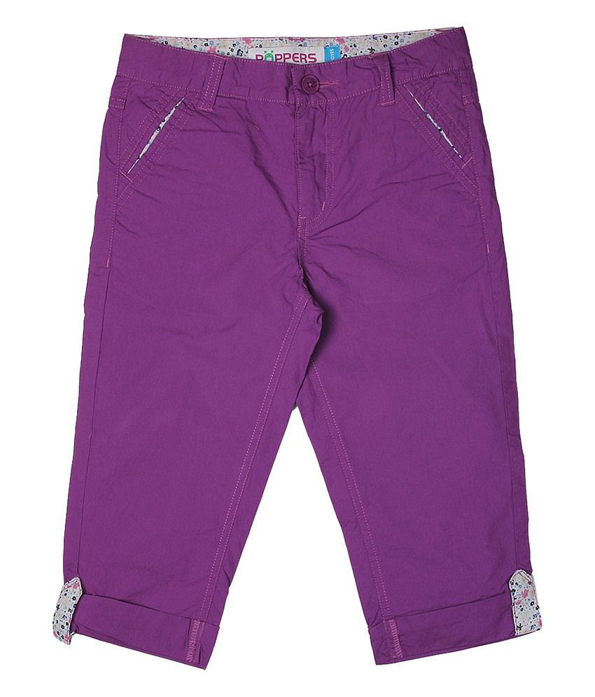 Poppers by Pantaloons Purple Casual Solid Capris