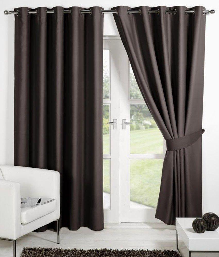 HOMEC Set of 2 Door Eyelet Curtains Solid Brown