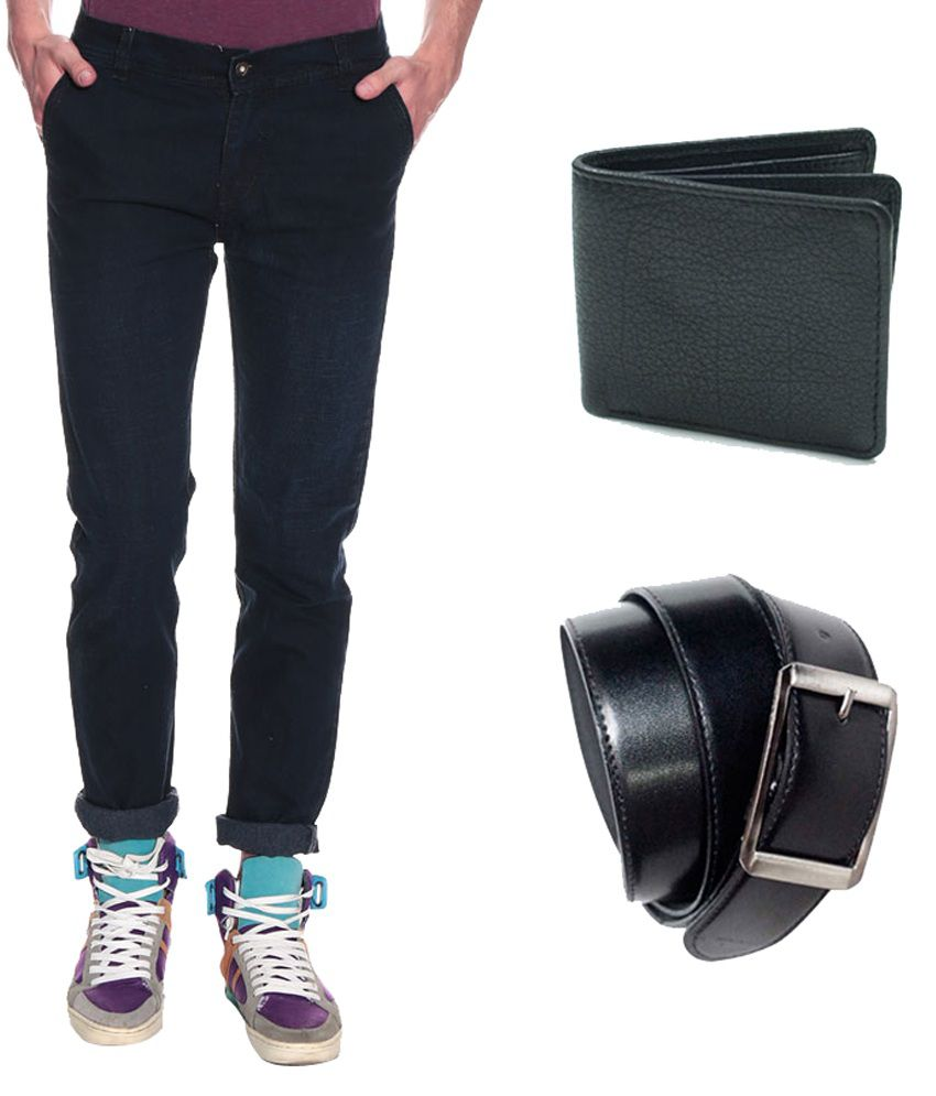 Pelican Black Regular Fit Men's Jeans with Free Belt & Wallet