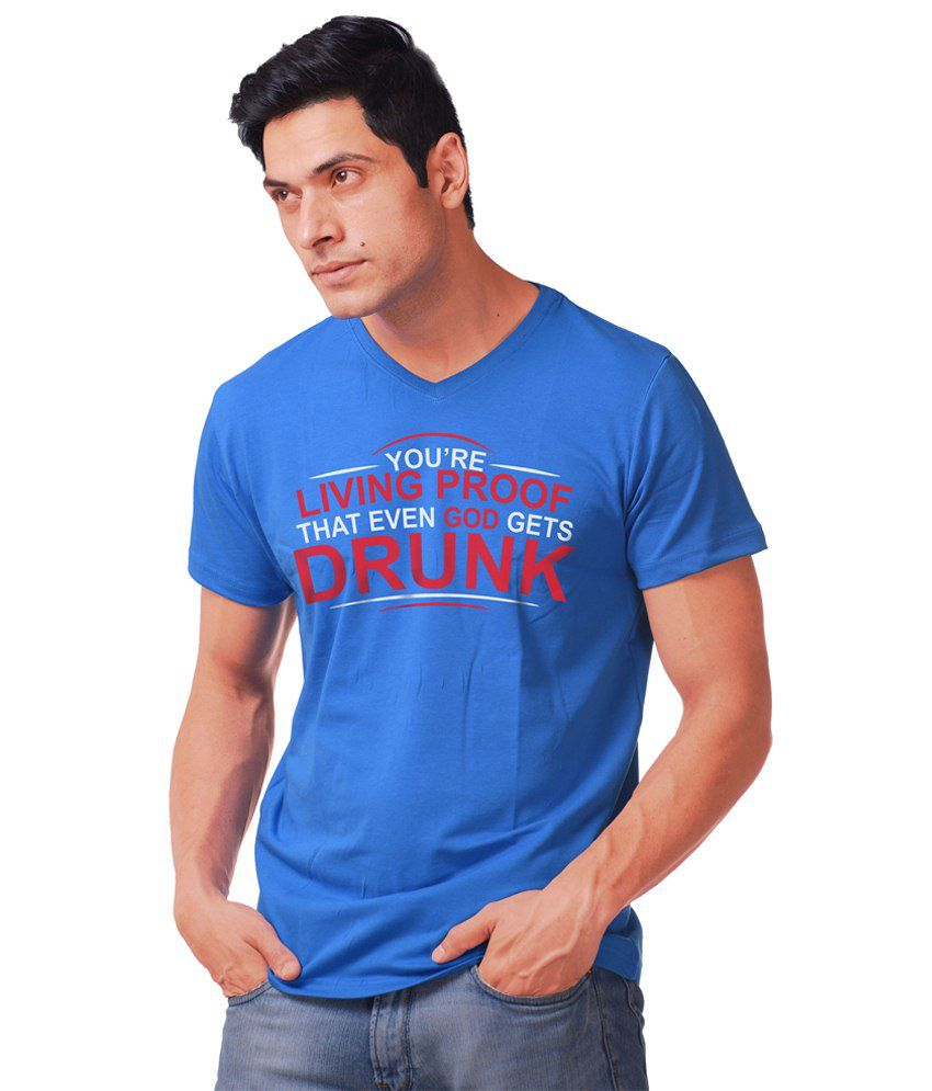 Purple Haze Clothing Drunk Blue & Red T Shirt for Men