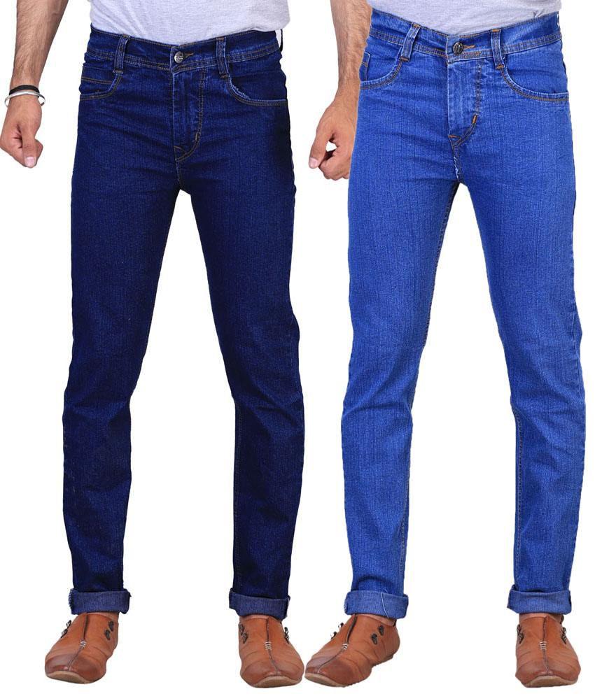 X-Cross Pack of 2 Dark Blue & Light Blue Regular Fit Jeans for Men