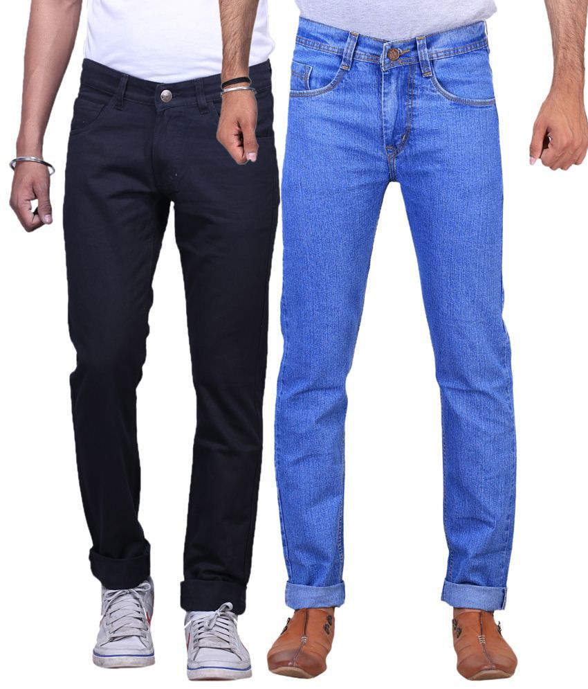 X-Cross Pack of 2 Black & Ice Blue Regular Fit Jeans for Men