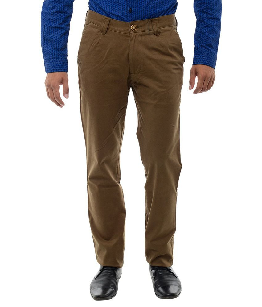 Br Club Brown Cotton Slim Fit Flat Trouser