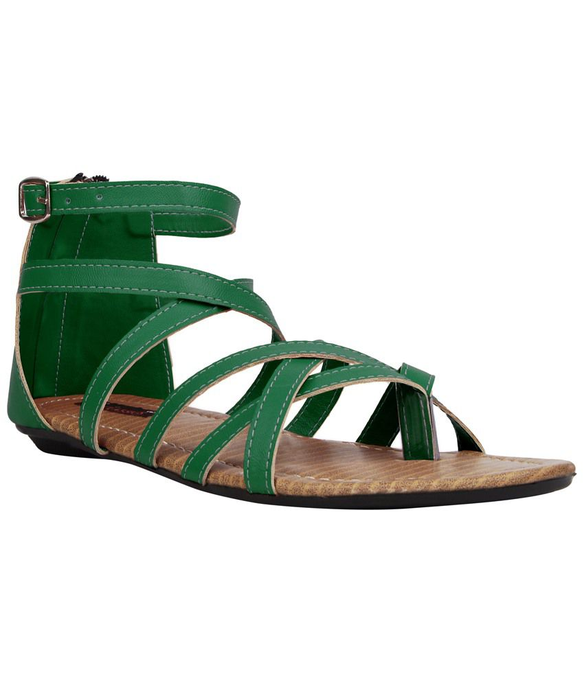 Womens sandals flipkart - Kz Classics Comfortable Green Amp Beige Flat Sandals For Women Available At Snapdeal For Rs
