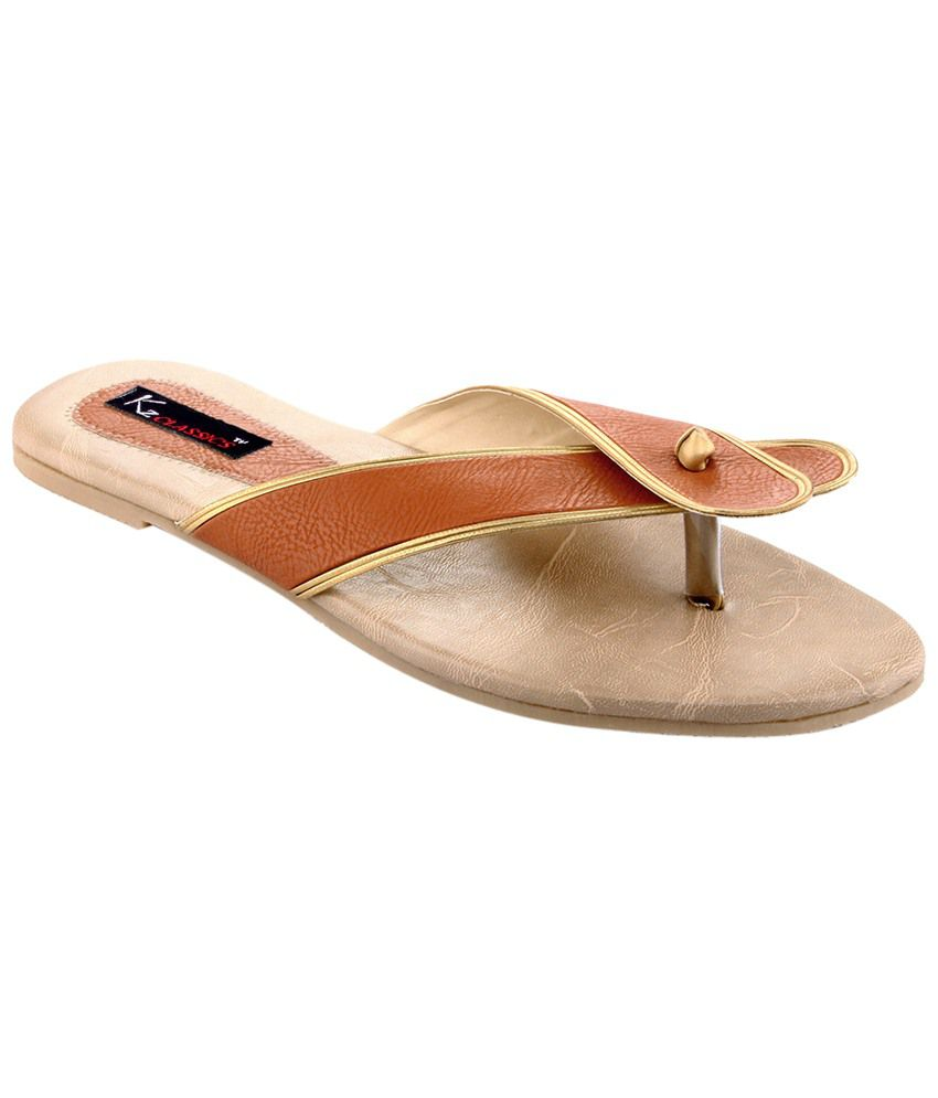 Kz Classics Orange & Beige Flat Slip Ons for Women
