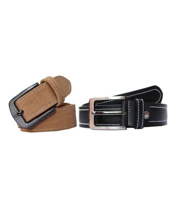 Winsome Deal Combo of Beige and Black Artificial Leather Casual Belts