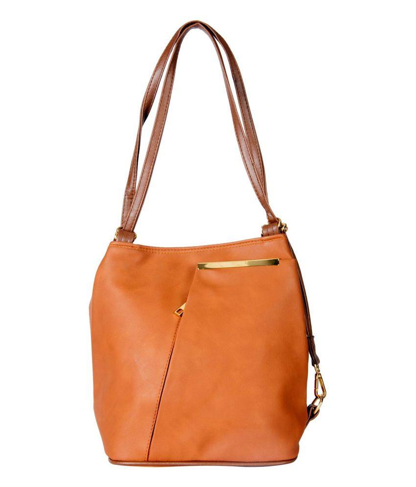 Ash Grey Tan P.U. Clasp Women Sling Bag