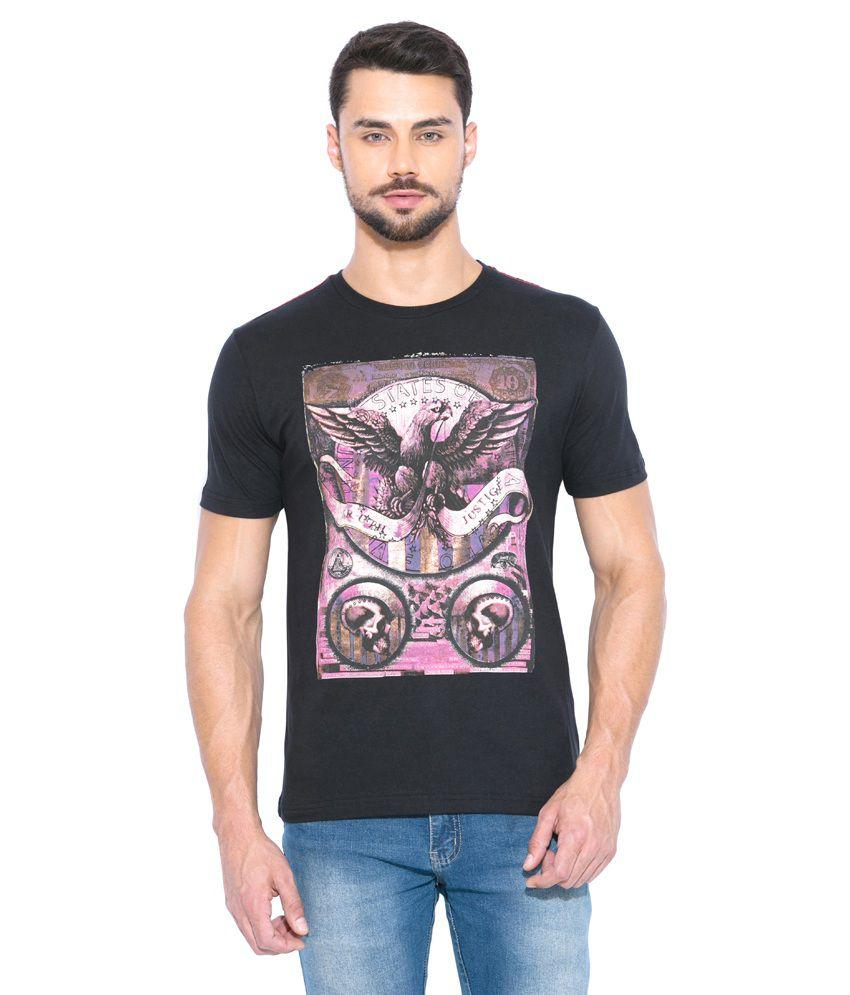 Globus Black Cotton Round Neck T-Shirt