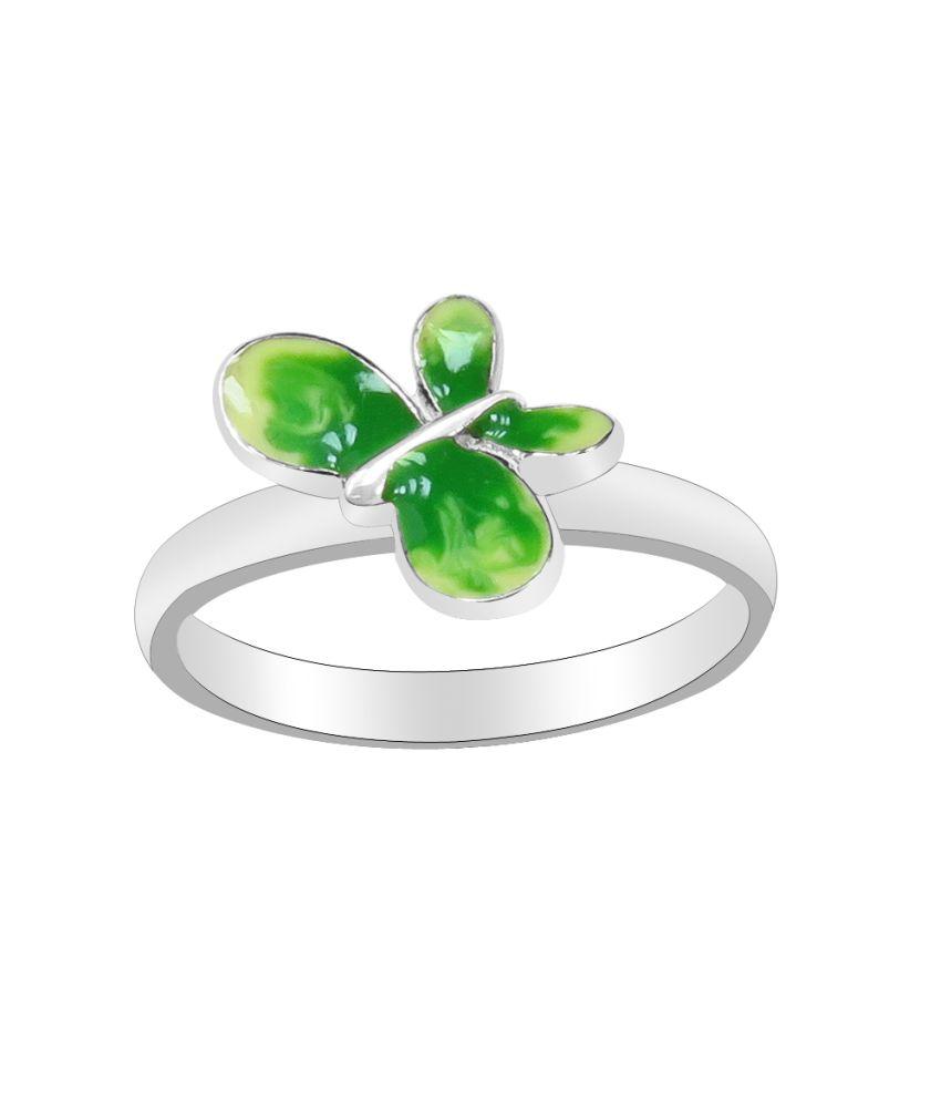 Krishna Green Enamel Butterfly 925 Sterling Silver Ring For Women