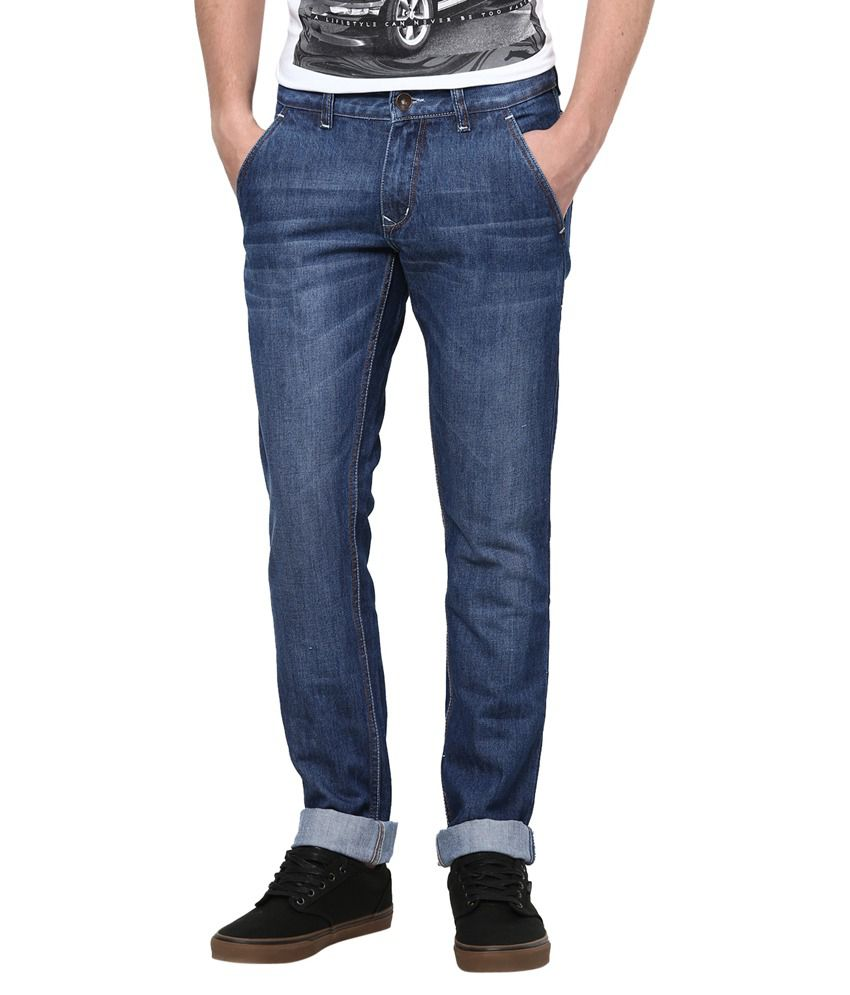 Super-x Blue Cotton Slim Fit Jeans