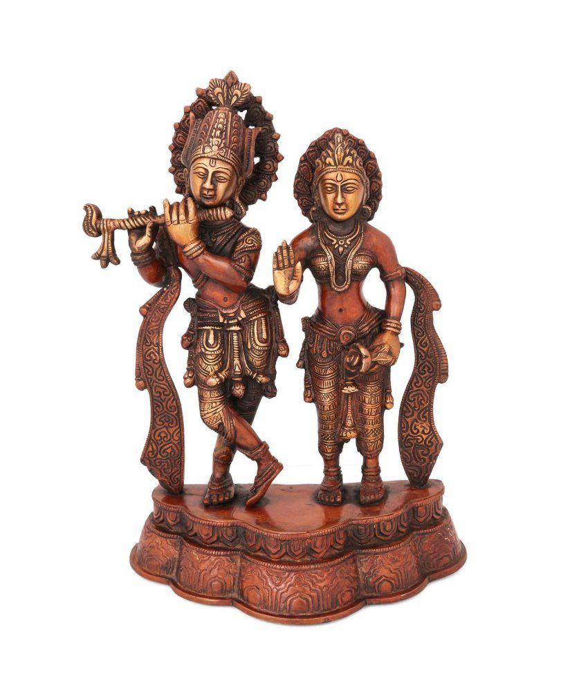 Collectible India Brass Material Spiritual Radha Krishan Idols