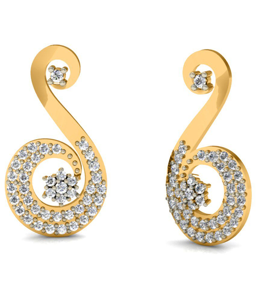 Diaonj 14kt Gold Drop Earrings