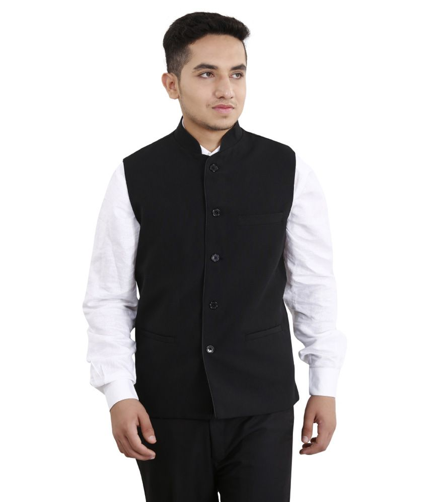 Fashion N Style Black Semi Formal Waistcoat