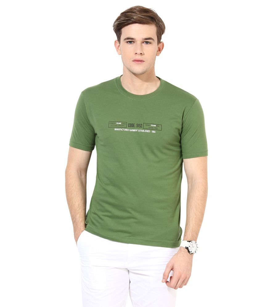 Okane Green Cotton Round Neck T-shirt