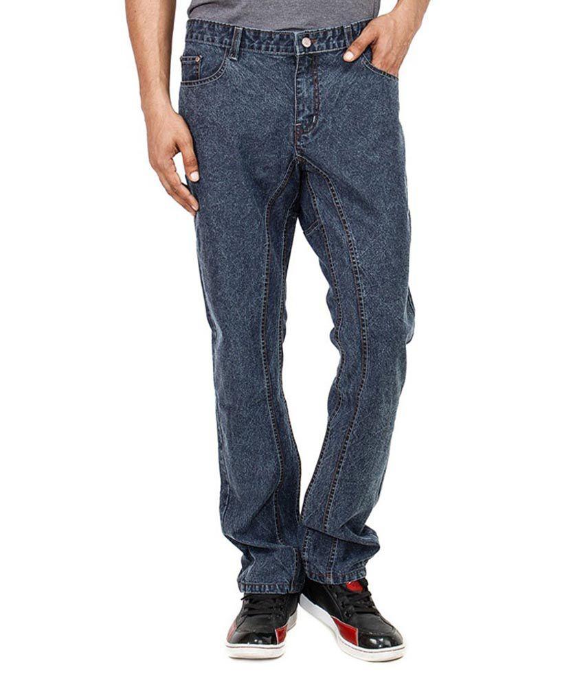 Uber Urban Gray Cotton Biker Regular Jeans