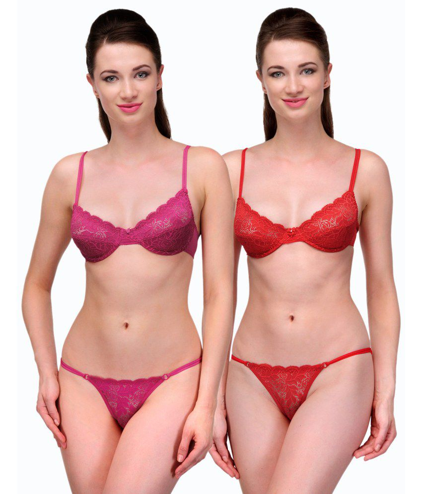 71f3ea4e9 Buy Urbaano Pink Bra   Panty Sets Online at Best Prices in India - Snapdeal