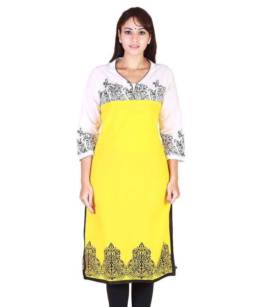 Vaari Retail Yellow Cotton Kurti
