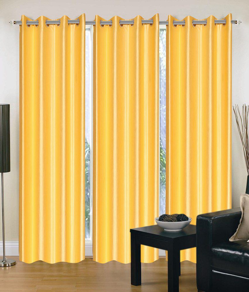 Brand Decor Plain Yellow Window Curtains Solid Yellow