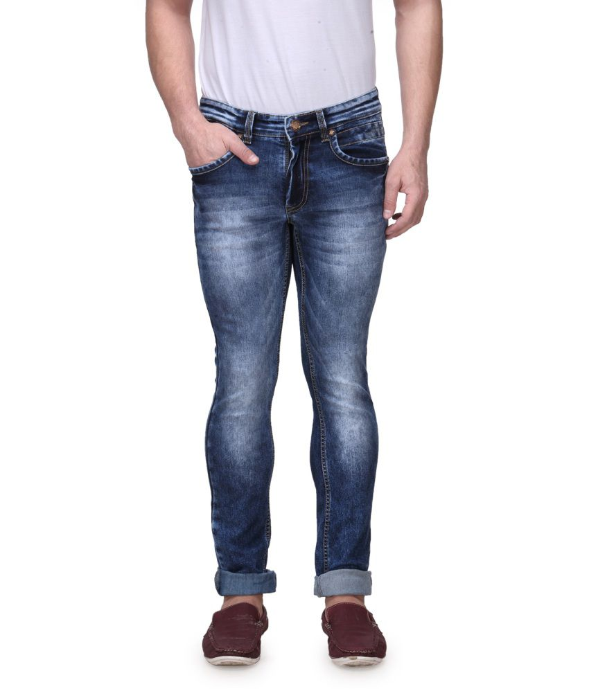 Canary London Blue Cotton Blend Faded Jeans