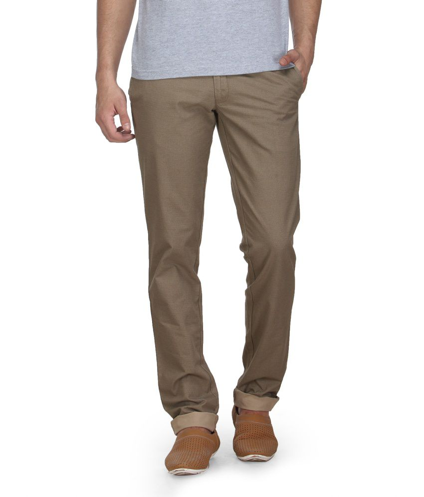 Canary London Khaki Cotton Casual Trouser