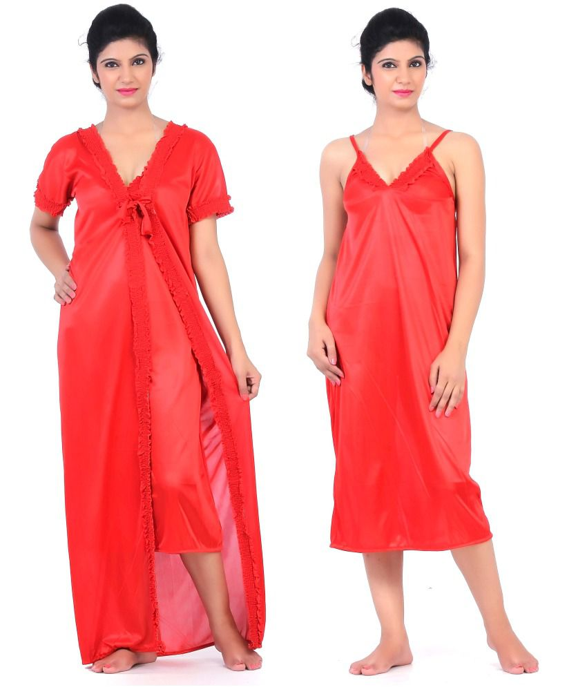 3a104084a6 Buy Fabme Red Satin two piece Nighty Sets Online at Best Prices in India -  Snapdeal
