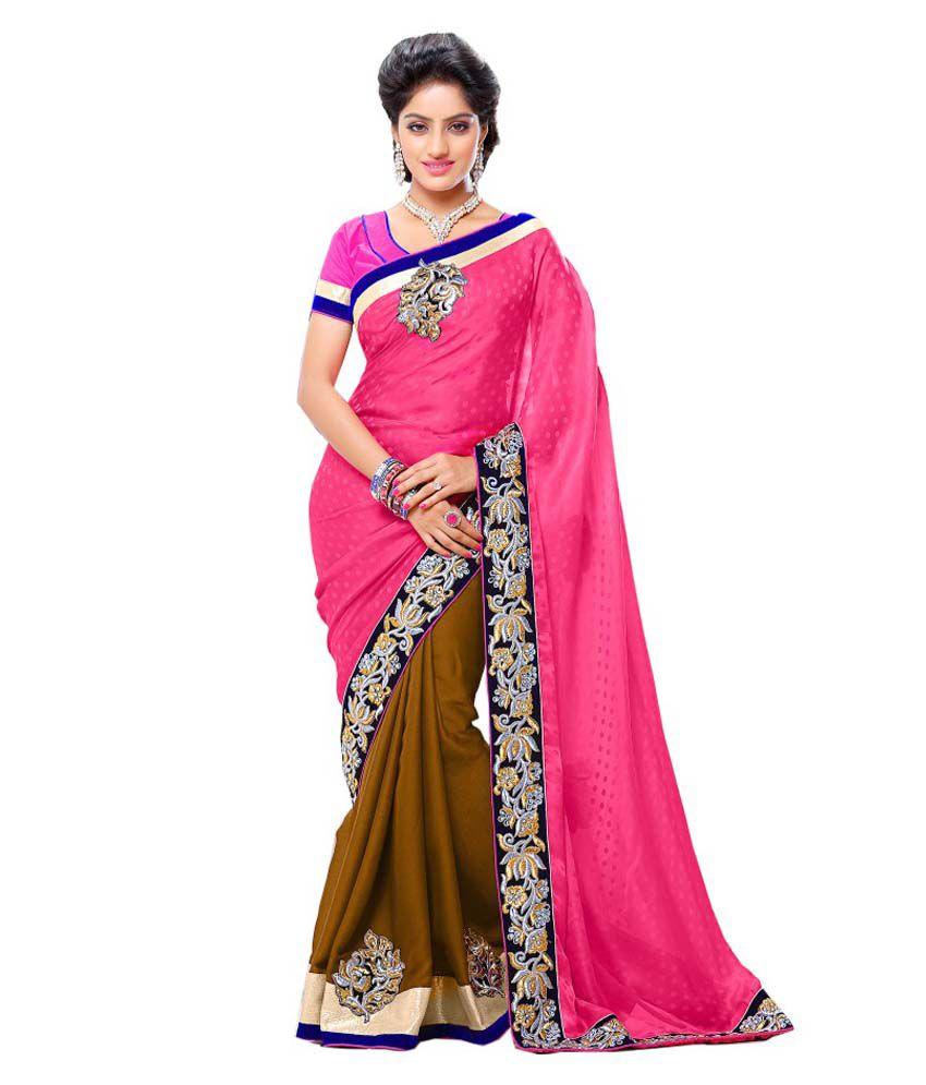 cb11fdca4a 35% OFF on Ravi Designer Saree's Pink Satin Saree on Snapdeal |  PaisaWapas.com