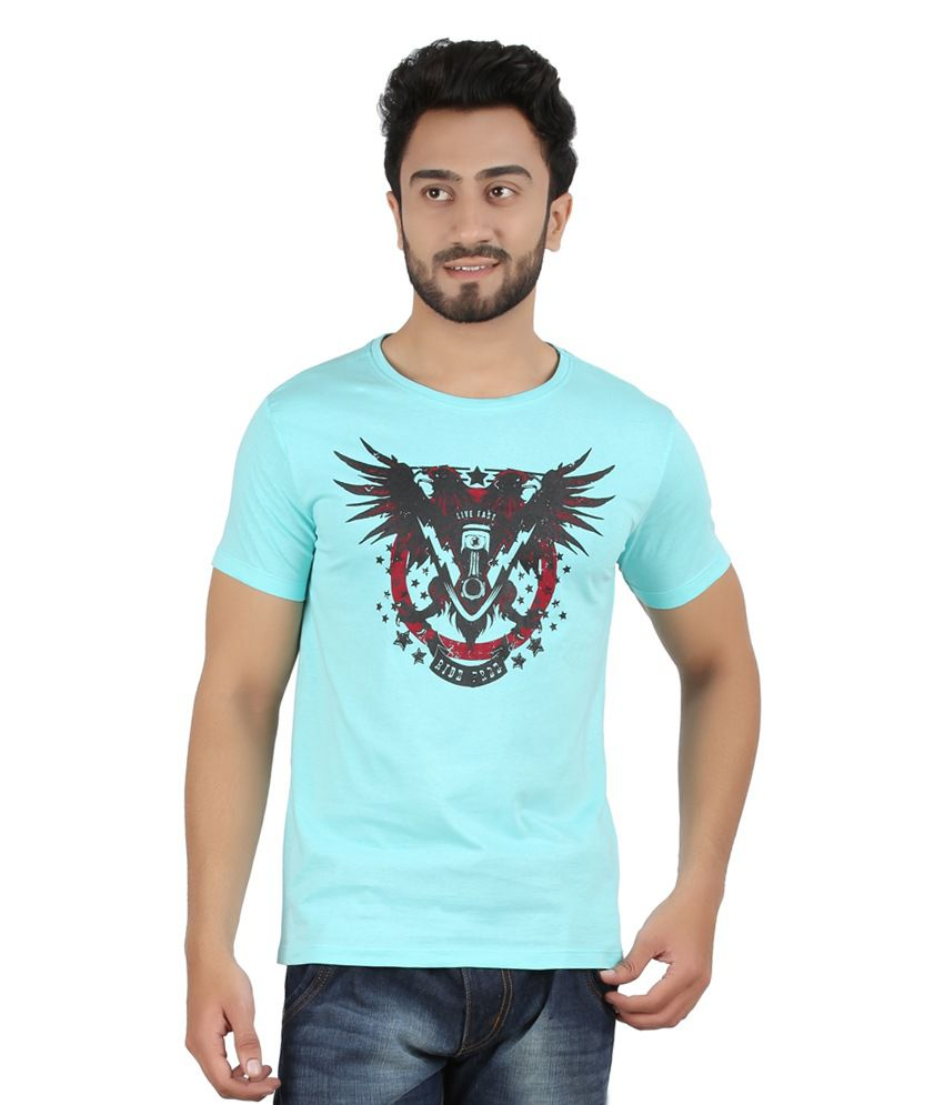 Hoodz Turquoise Cotton Round Neck T - Shirt