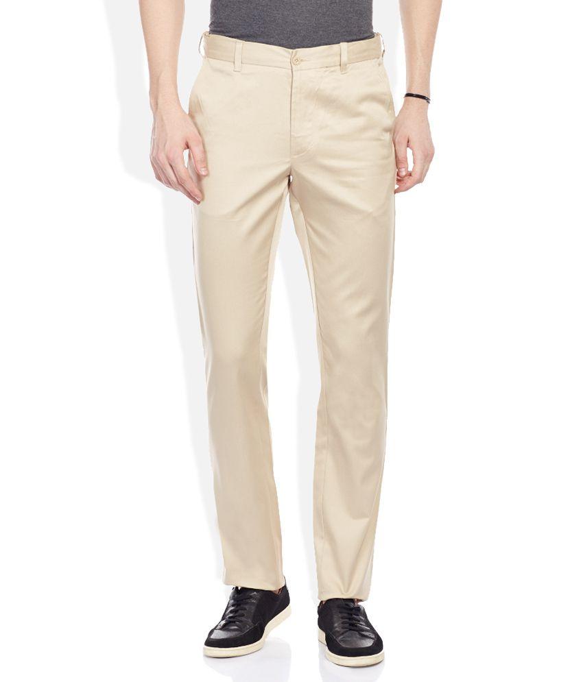 Parx Beige Solid Flat Front Trousers