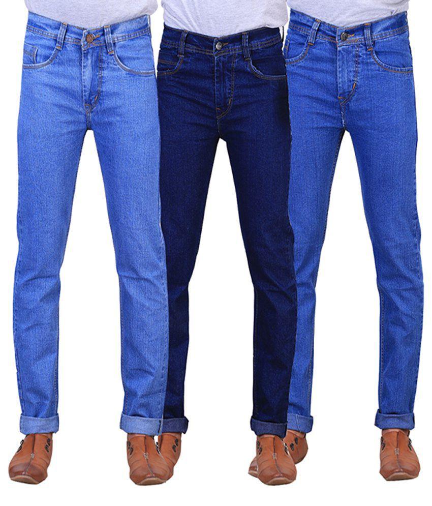 X-cross Navy Blue and Blue Denim Regular Fit Jeans for Men (Pack of 3)