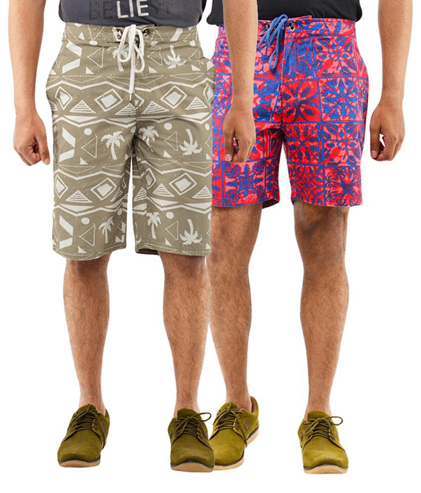 Blue Wave Khaki & Red Shorts (Pack of 2)