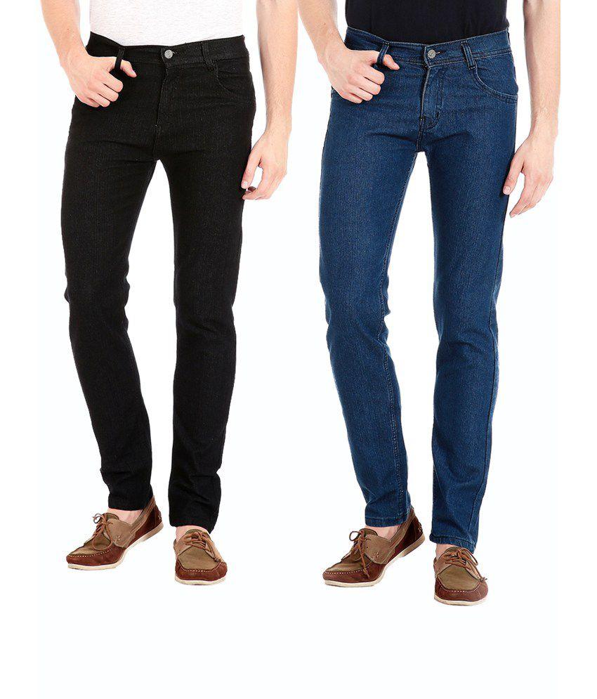 Flyjohn Combo of Two Black & Light Blue Jeans