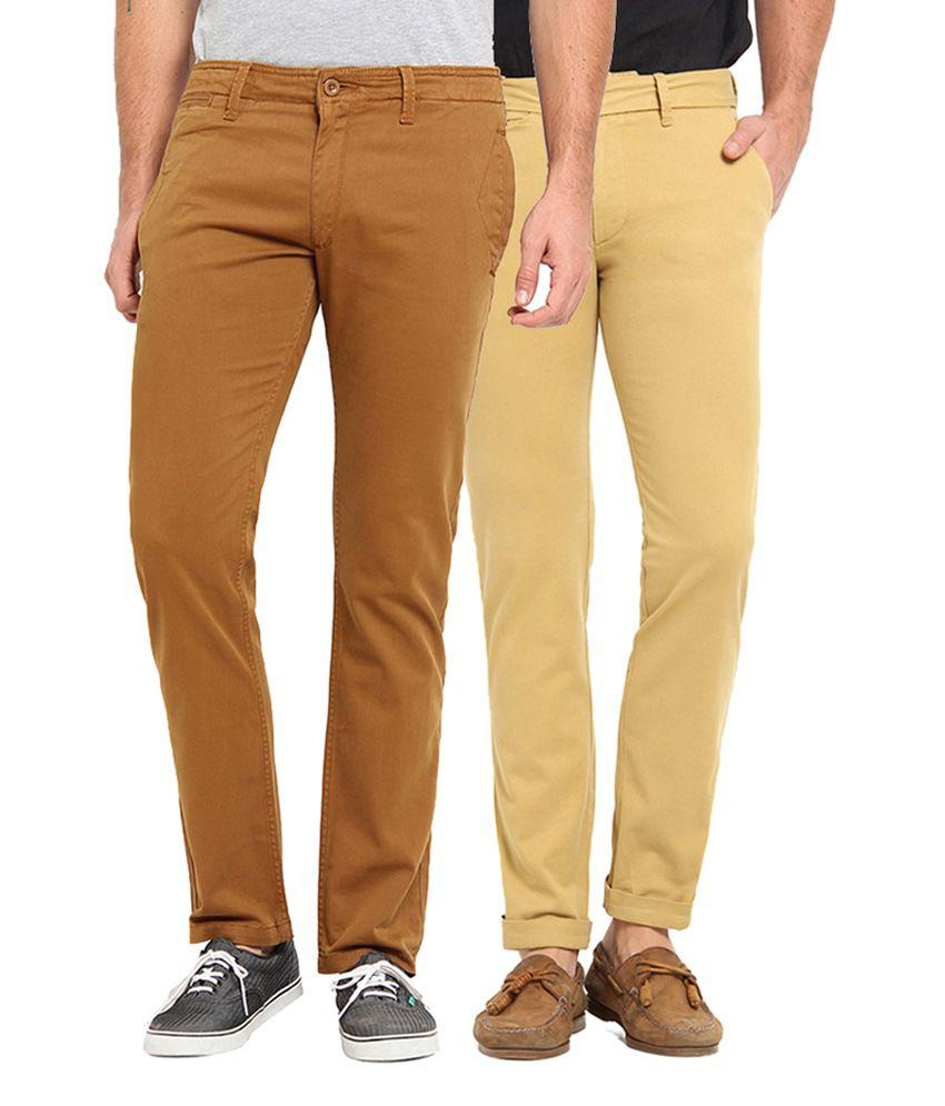 Offline Brown & Beige Cotton Lycra Slim Fit Casual Chinos (Pack of 2)