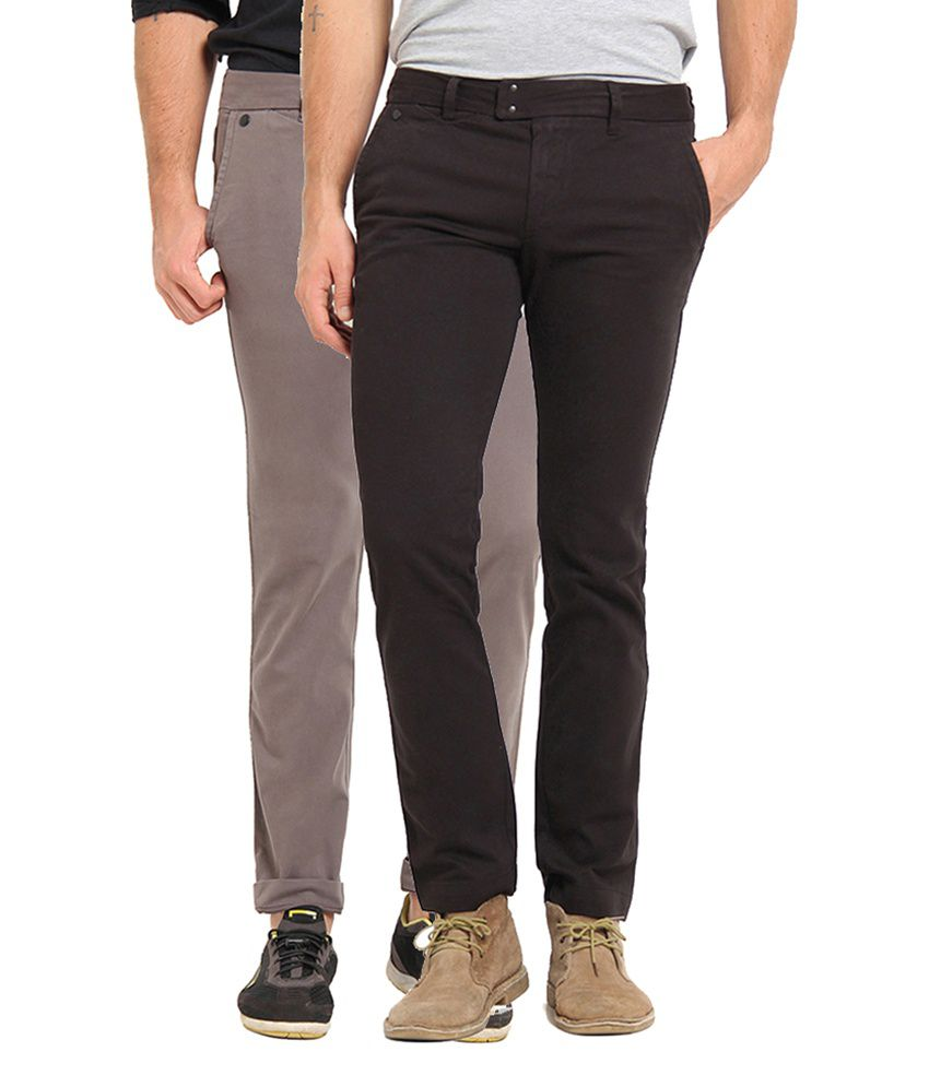 Offline Grey & Black Cotton Lycra Casual Chinos (Pack of 2)