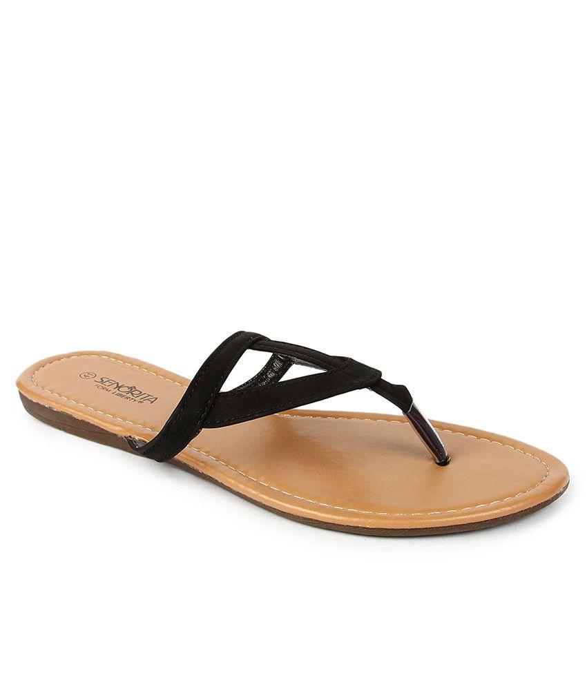 Senorita Black Slippers