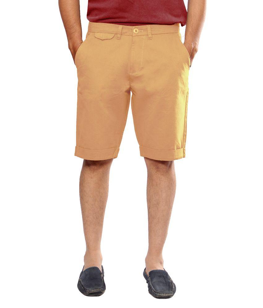 Uber Urban Orange Cotton Shorts For Men