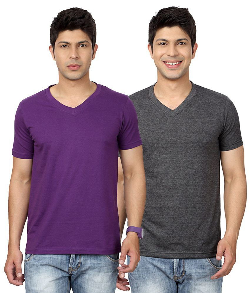 Entigue Purple & Dark Grey V-Neck T-shirt Combo (Pack of 2)
