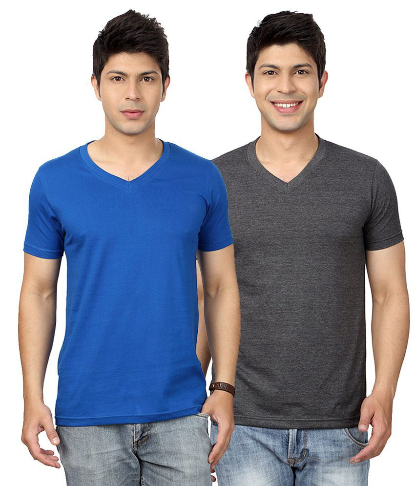 Entigue Royal Blue Dark Grey V Neck T Shirt Combo Pack