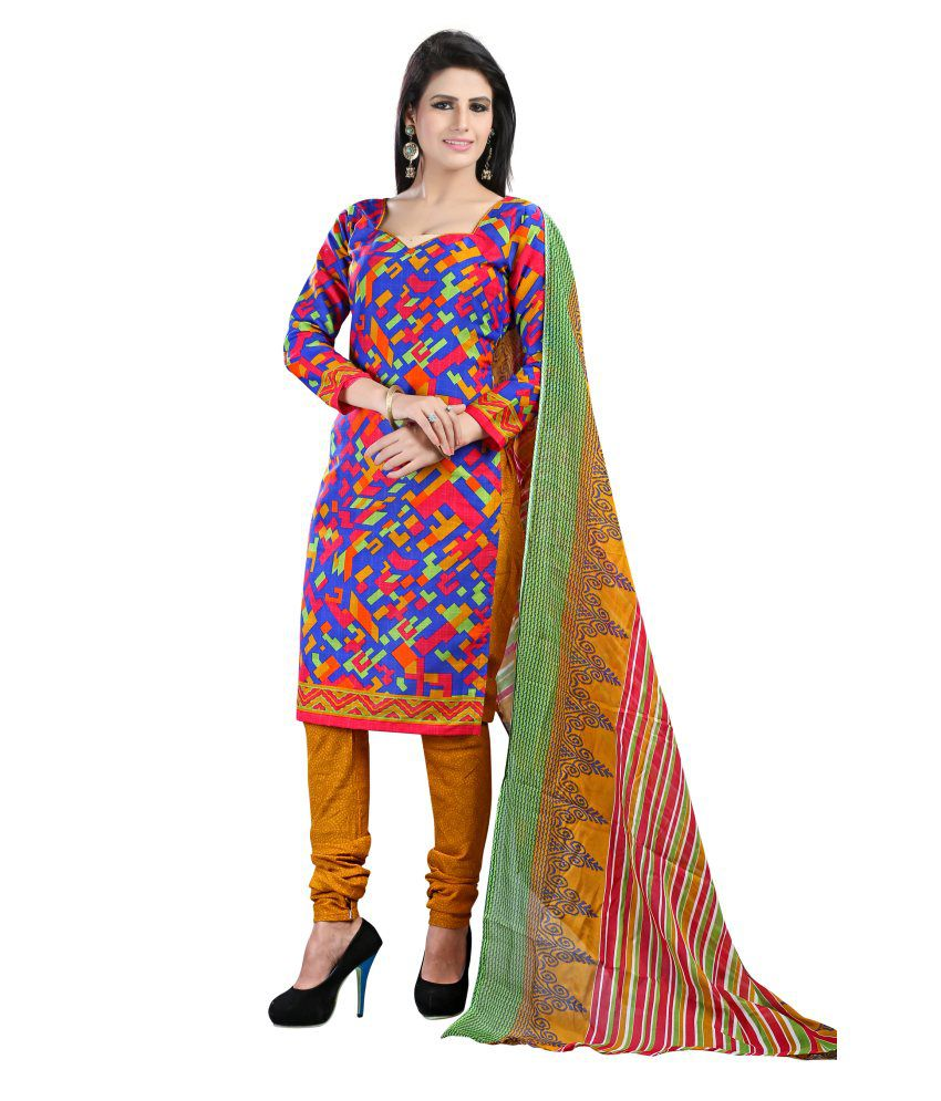 Rudra Fashion Multicolour Cotton Semi Stitched Salwar Suit