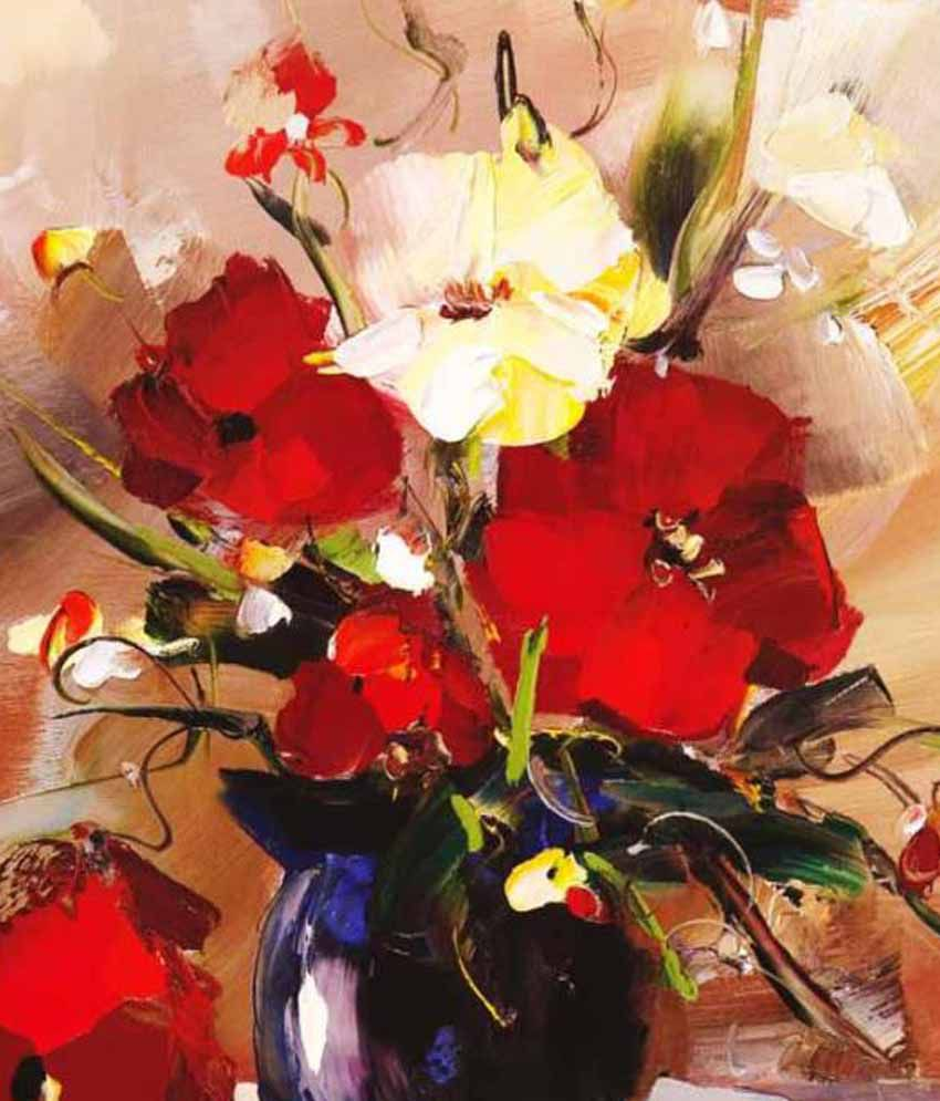 Tao Communications Floral Paintings Without Frame - Red