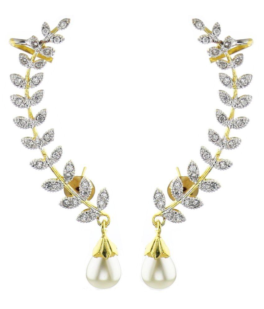 YouBella Golden American Diamond EarCuff Earrings