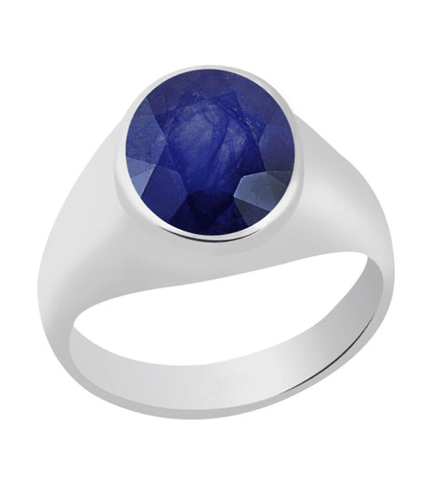 55Carat 7.5 Ratti Beautiful Natural Blue Sapphire (Neelam) Soltaire Silver Ring