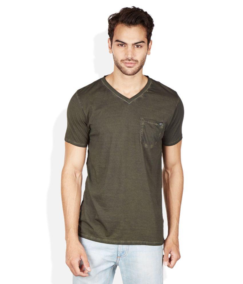 Breakbounce Green V-Neck T Shirt