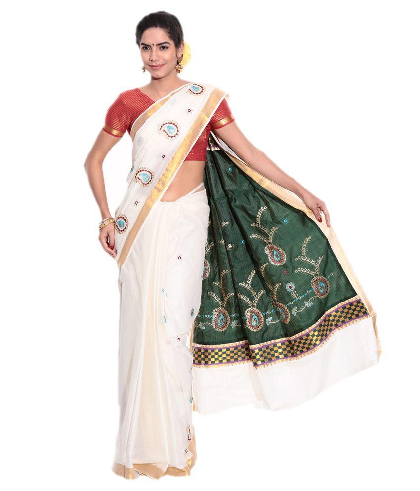Fashion Kiosks White Cotton Saree