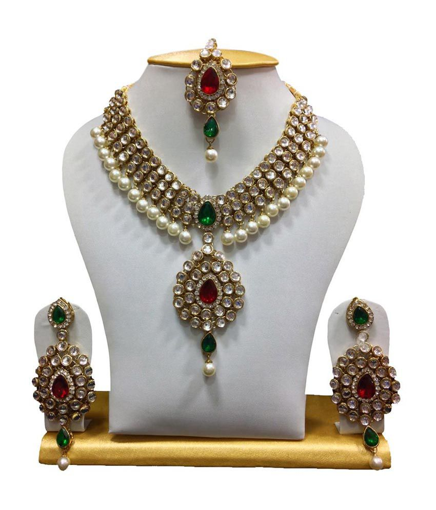 ShinningDiva Dazzling Kundan Necklace Set in White, Maroon & Green with Pearls