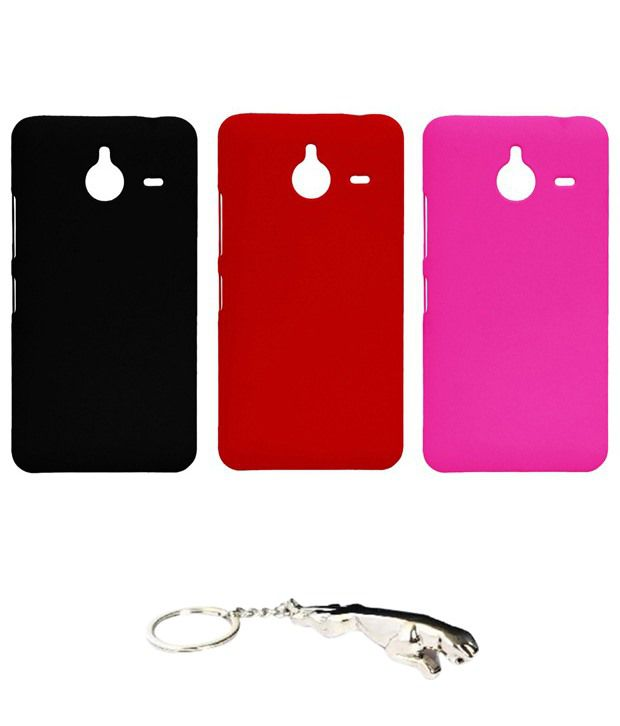 Winsome Deal Delightful Multicolour Combo of Keychain & 3 Nokia Lumia 640 XL Back Covers