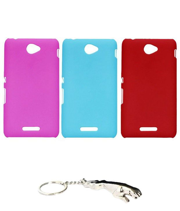 Winsome Deal Irresistible Multicolour Combo of Keychain & 3 Sony Xperia E4 Back Covers