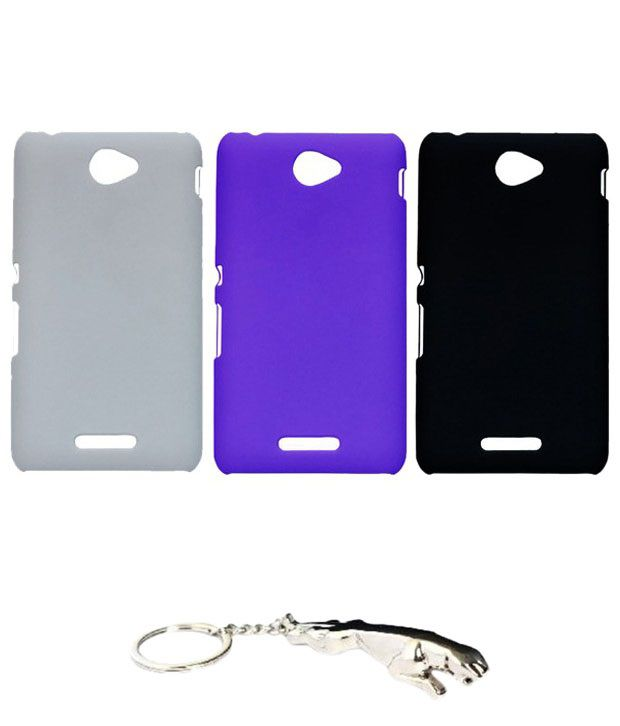 Winsome Deal Marvellous Multicolour Combo of Keychain & 3 Sony Xperia E4 Back Covers